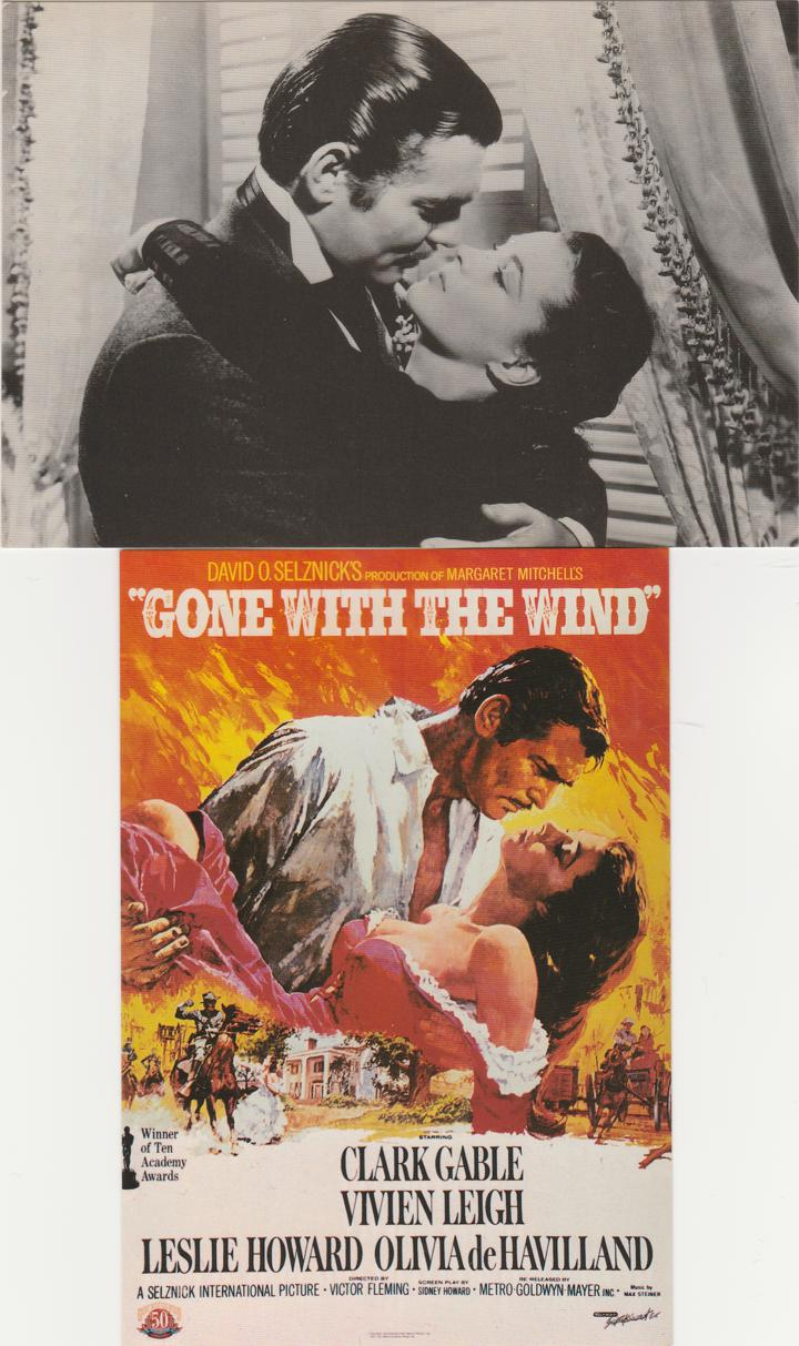 (2 cards) Gone With The Wind - Movie Posters - FDC -1990 - Clark Gable - Vivien Leigh