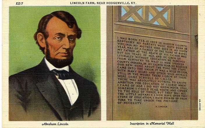 Memorial Hall Inscription - Abraham Lincoln Farm - Near Hodgenville, Kentucky - Linen Card