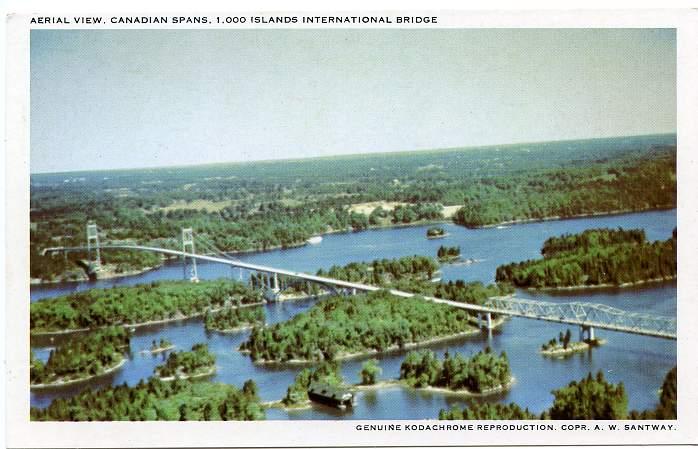 Aerial View of Canadian Spans - Thousand Islands International Bridge - Ontario, Canada