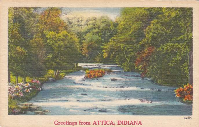 Greetings from Attica, Indiana - pm 1962 at Crawfordsville - Linen Card