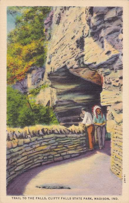 Trail To the Falls - Clifty Falls State Park - Madison, Indiana - Linen Card