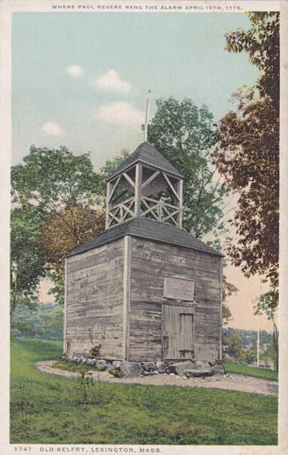 Old Belfry - Where Paul Revere rang the alarm - Lexington, Massachusetts - Divided Back - Det Pub