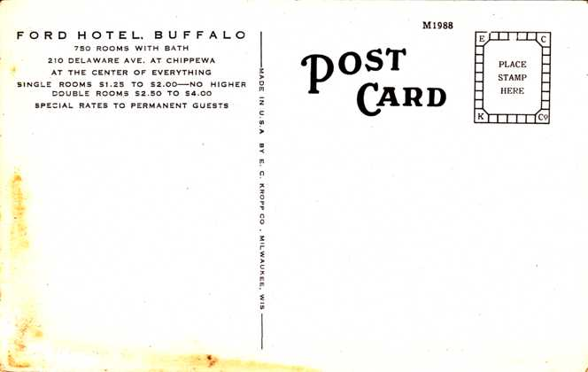 The Ford Hotel - Single Rooms $1.25 to $2.00 - Buffalo, New York - White Border