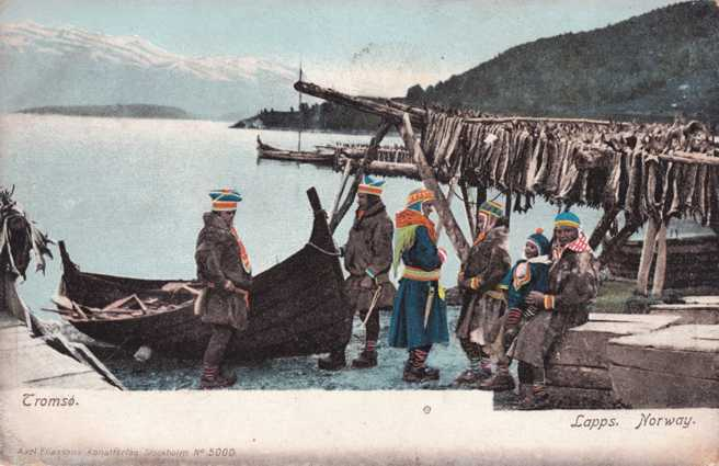 Sami People near Tromso Norway with Catch of Fish - Undivided Back