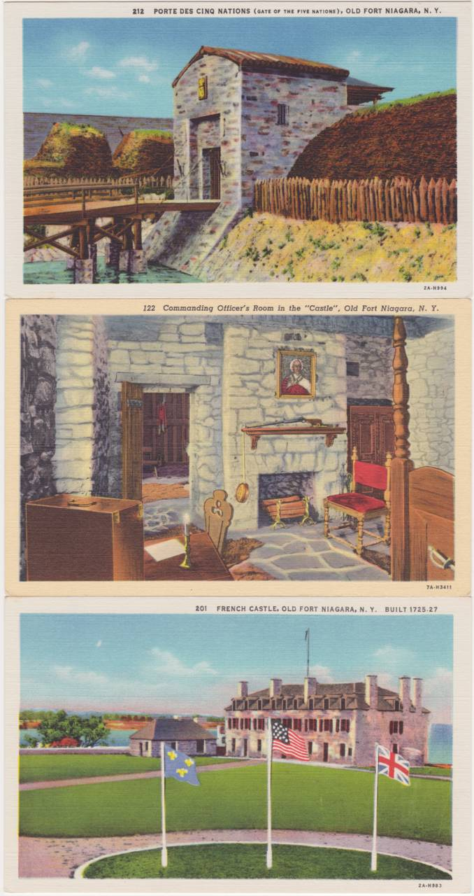 (3 cards) Gate of Five Nations - Officer's Room - French Castle - Old Fort Niagara, New York - Linen