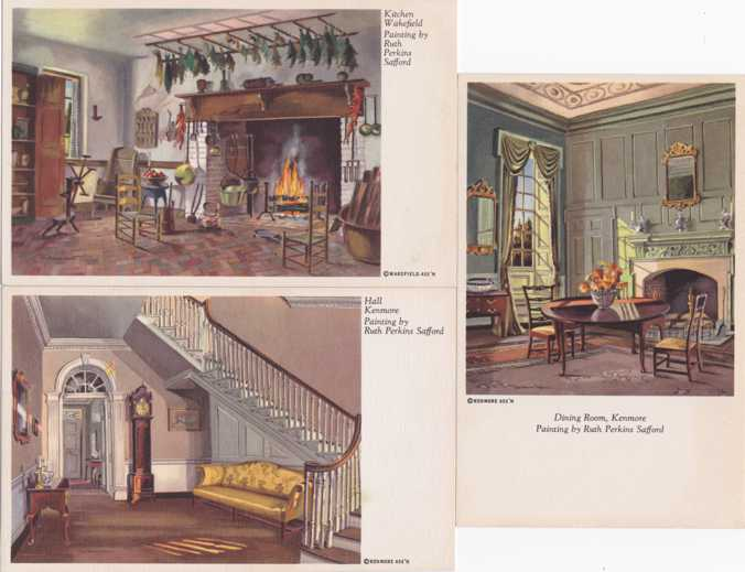 (3 cards) Paintings by Ruth Perkins Safford (1892-1979) - Kenmore and Wakefield - United Kingdom