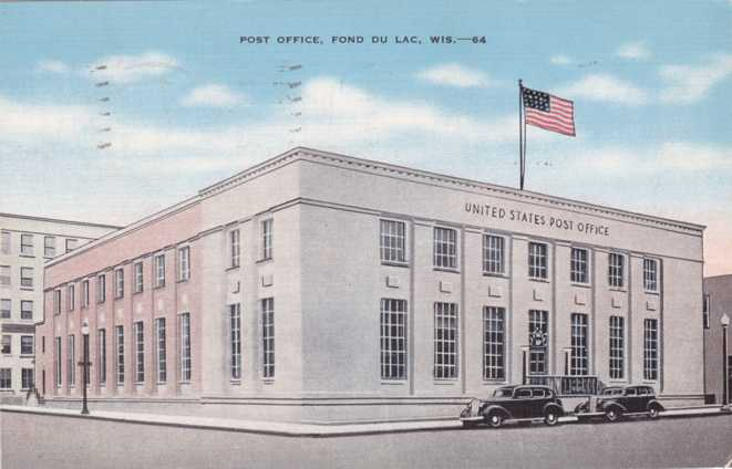 United States Post Office - Fond Du Lac, Wisconsin - pm 1947 at Waupun - Linen Card