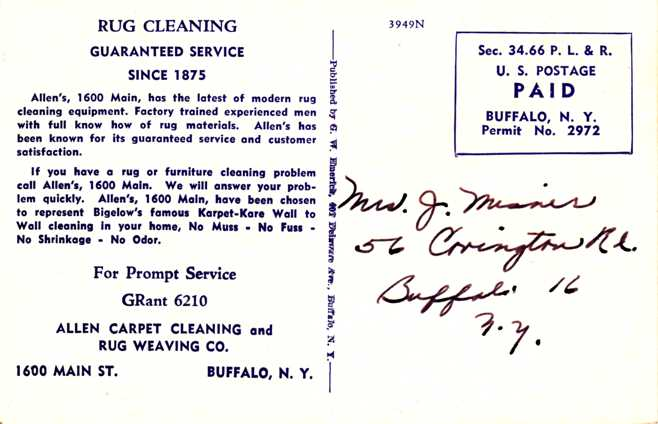 Allen Carpet Cleaning - Buffalo, New York - Bigelow's Karpet-Kare Wall to Wall Cleaning in Home ?