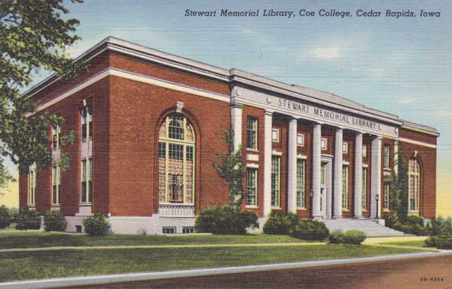 playle 39 s stewart memorial library coe college cedar rapids iowa pm 1945 linen card. Black Bedroom Furniture Sets. Home Design Ideas