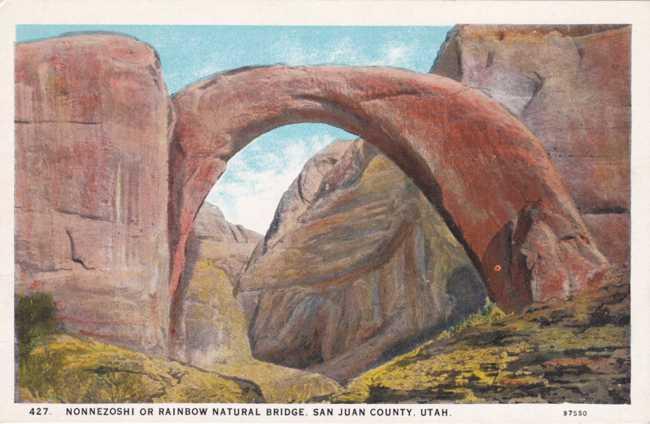 Nonnezoshi or Rainbow Natural Bridge - San Juan County, Utah - White Border