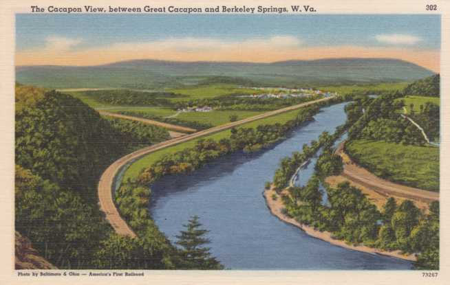 The Official Cacapon View between Great Cacapon and Berkeley Springs, West Virginia - Linen Card