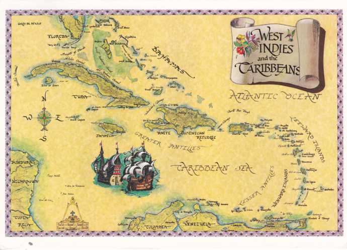 Map of the West Indies and the Caribbean Islands