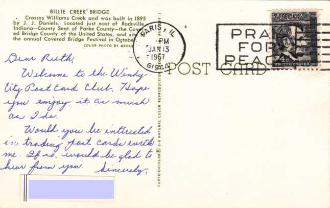 Billie Creek Covered Bridge - Williams Creek, Parke County, Indiana - pm 1967 at Paris IL