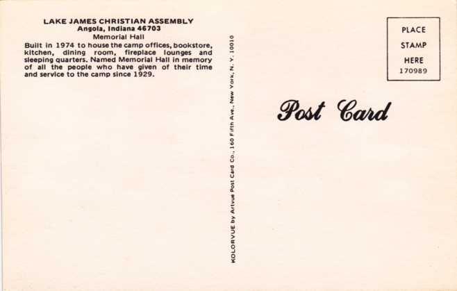 Lake James Christian Assembly - Memorial Hall - Angola, Indiana
