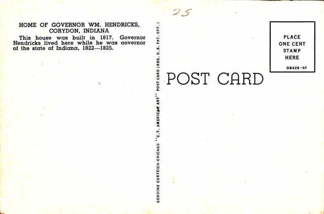 Home of Gov. William Hendricks - Indiana Governor 1822-1825 - Corydon, Indiana - Linen Card