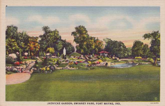 playle 39 s jaenicke garden at swinney park fort wayne indiana linen card store item. Black Bedroom Furniture Sets. Home Design Ideas
