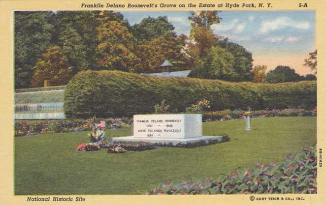 Grave of FDR on Estate at Hyde Park, New York - Linen Card