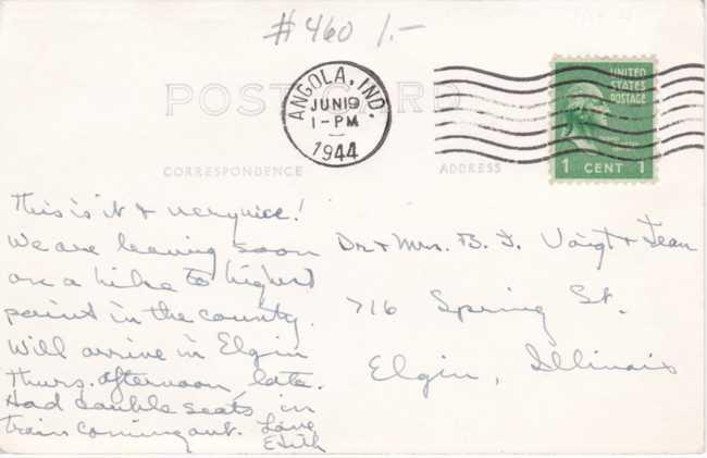 RPPC Potawatomi Inn at Ponagon State Park - Angola, Indiana - pm 1944 - Real Photo