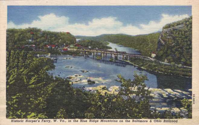Baltimore & Ohio Railroad Bridge - Harpers Ferry, West Virginia - Linen Card