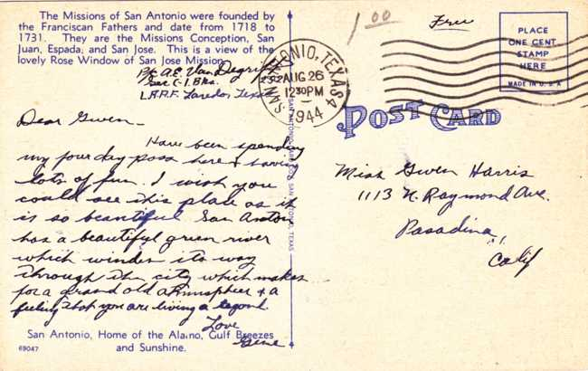 Rose Window at San Jose Mission - San Antonio, Texas - pm 1944 - Linen Card