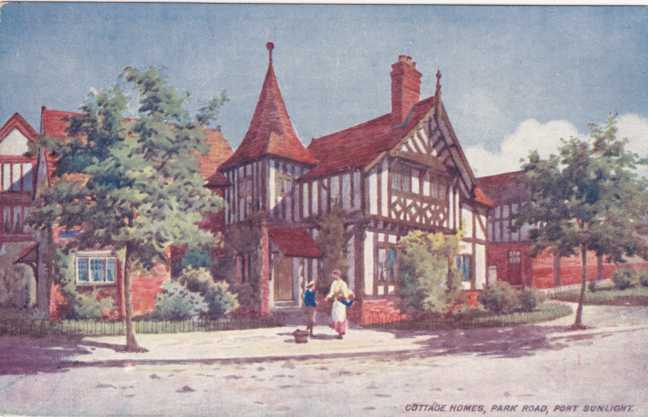 Cottage Homes on Park Road - Port Sunlight, Merseyside, England - Divided Back