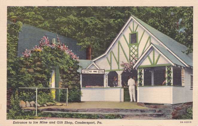 Entrance to Ice Mine and Gift Shop - Coudersport, Pennsylvania - Linen Card
