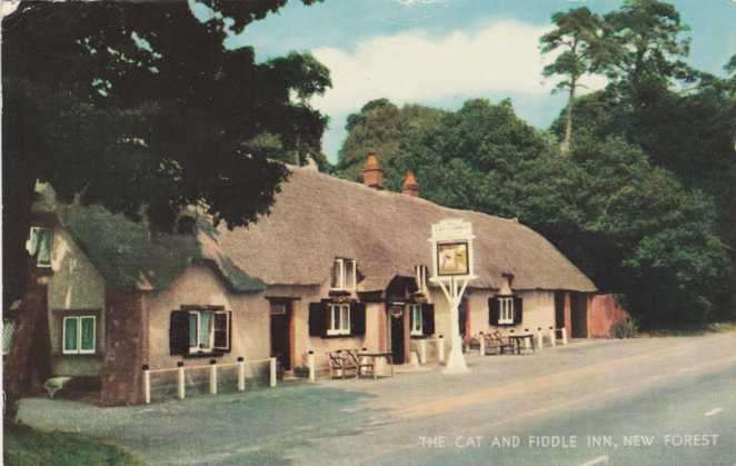The Cat and Fiddle Inn - New Forest, Hampshire, England - pm 1965