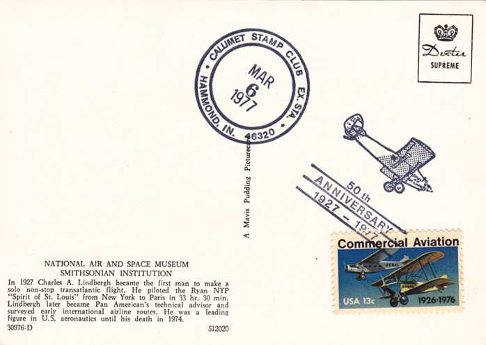 US 1684 - Calumet Stamp Club Cancel - Lindbergh Post Card