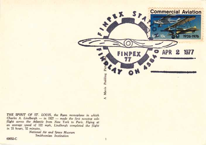 US 1684 FINPEX Cancel - Spirit of St Louis Post Card
