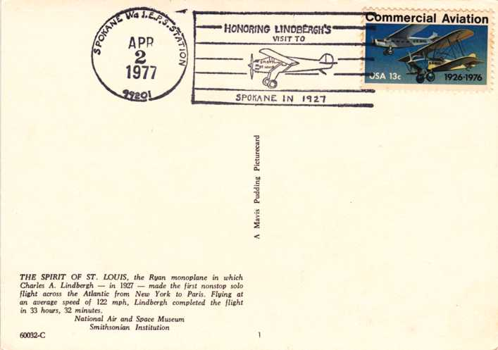 US 1684 Lindbergh Visit to Spokane Cancel - Spirit of St Louis Post Card