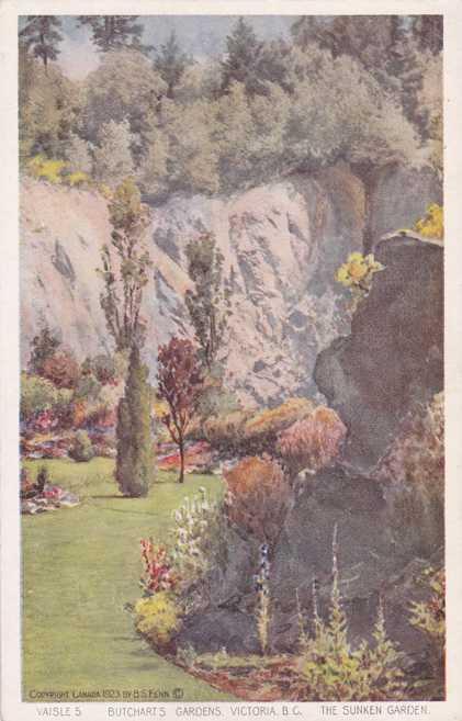 The Sunken Garden - Butchart's Gardens - Victoria, British Columbia, Canada - White Border
