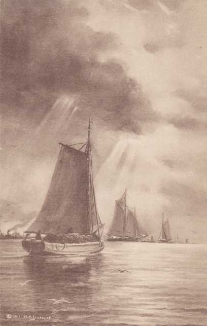 Sailing Vessels in Harbor - a/s H. A. Duessel - Divided Back