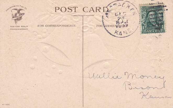 Clapsaddle - Christmas Greeting - Three Bells - pm 1907 at McCracken, Kansas - Divided Back