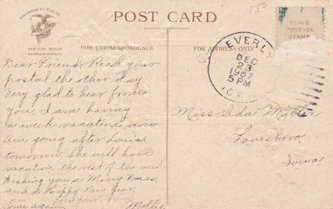 Clapsaddle - All Good Wishes for a Happy Christmas - pm 1907 at Everly, Iowa - Divided Back