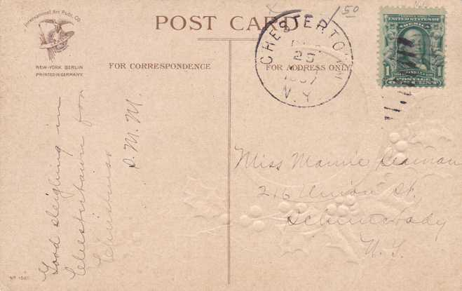 Clapsaddle - Christmas Greeting - Holly and Rural Scene - pm 1907 at Chestertown - Divided Back