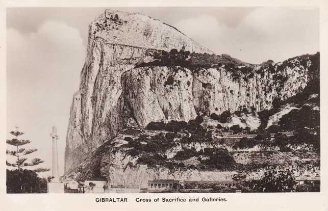 RPPC Cross of Sacrifice at the Rock of Gibraltar - Real Photo