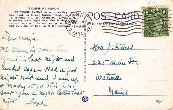 Telephone Canon on Lincoln Highway - near Laramie, Wyoming - pm 1934 at Cheyenne - White Border