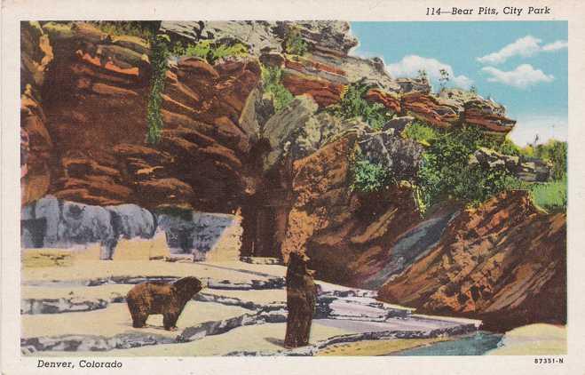 Bear Pits at City Park Zoo - Denver, Colorado - Linen Card