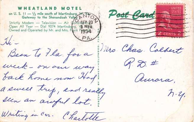 playle 39 s wheatland motel near martinsburg west virginia pm 1954 store item homerbob14786. Black Bedroom Furniture Sets. Home Design Ideas
