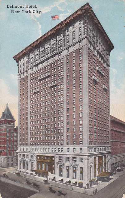 Belmont Hotel on Park Avenue - New York City - pm 1914 - Divided Back