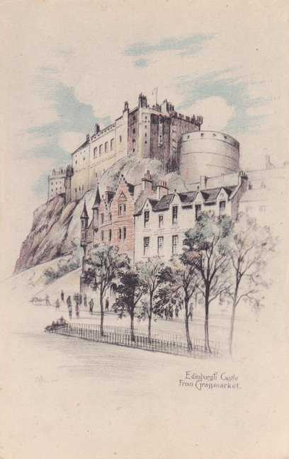 Edinburgh Castle, Scotland - from Grassmarket - Drawing by Andrew Allan