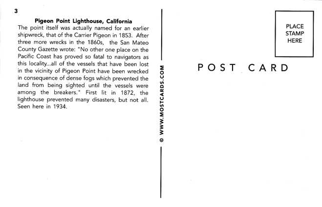 Pigeon Point Light House as seen in 1934 - California