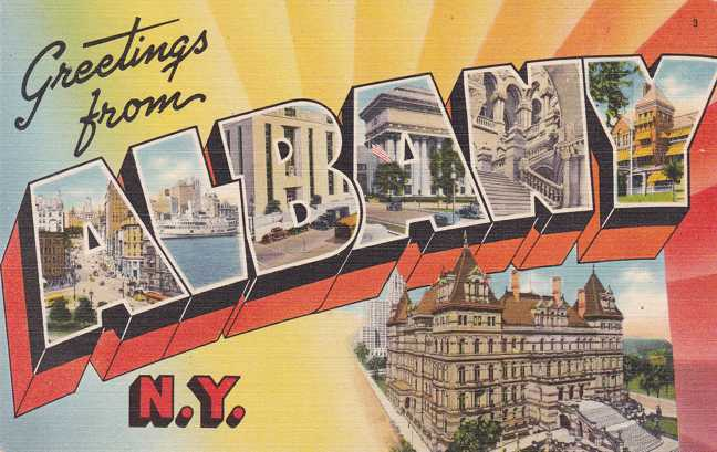 Greetings from Albany, New York - Linen Large Letter