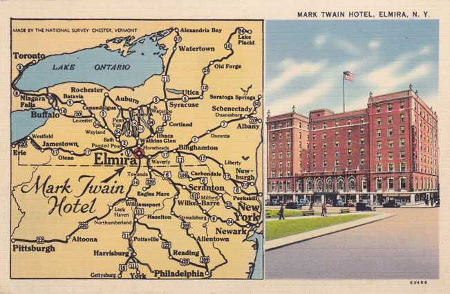 Mark Twain Hotel and Area Map - Elmira, New York - pm 1941 - Linen Card