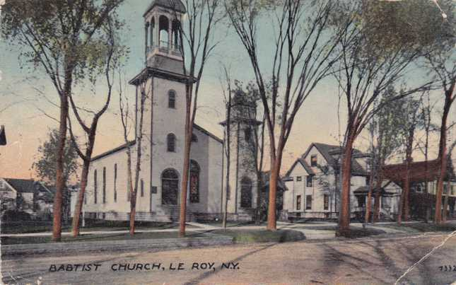 Baptist Church at Le Roy, New York - pm 1920 - Divided Back