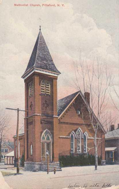 Methodist Church - Pittsford, New York - pm 1908 at Honeoye Falls - Divided Back