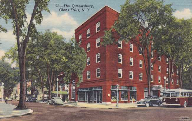The Queensbury Hotel Glens Falls New York Linen Card