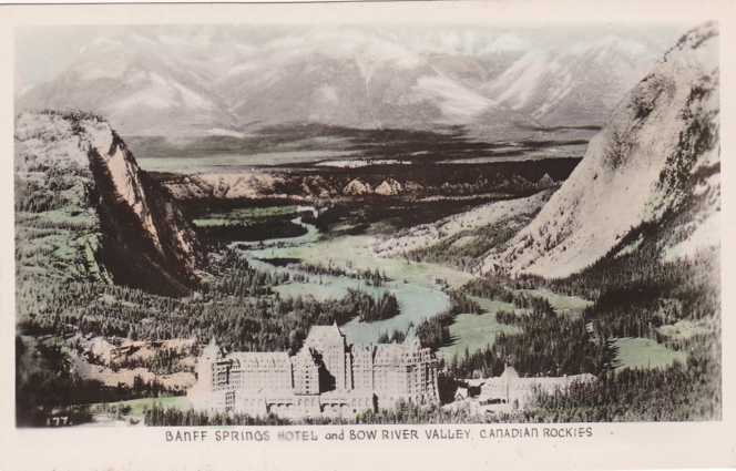 Tinted RPPC Banff Springs Hotel and Bow River Valley - Alberta, Canada - Real Photo
