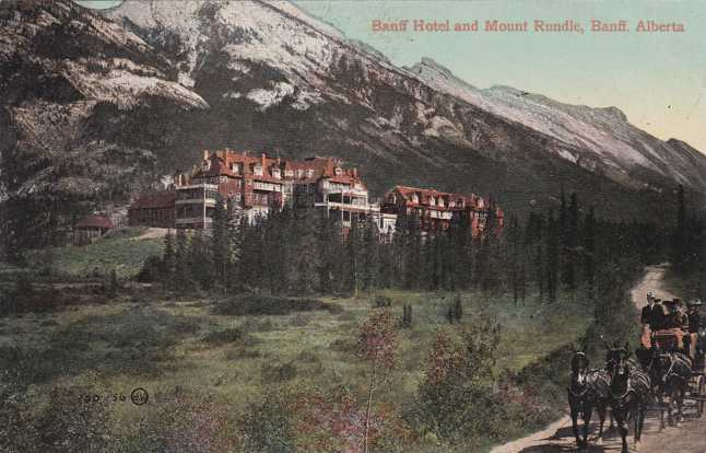 Stage Coach at Banff Hotel and Mt Rundle - Alberta, Canada - Divided Back