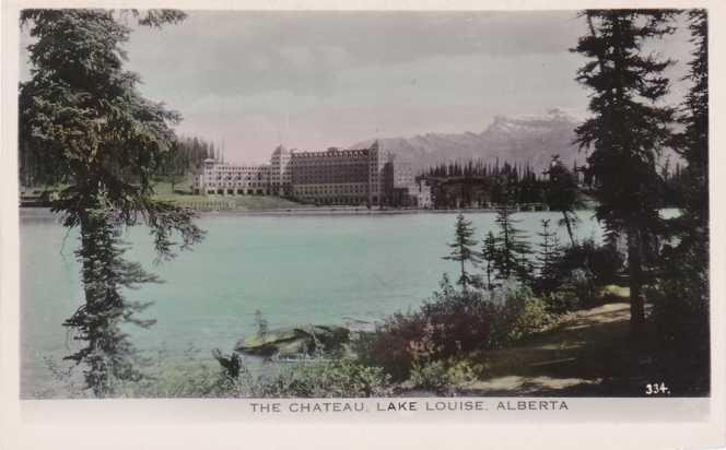 Tinted RPPC Chateau Hotel across Lake Louise, Alberta, Canada - Real Photo